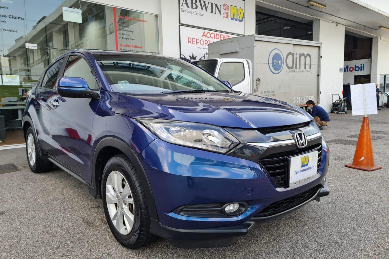 Blue Honda Vezel Angle